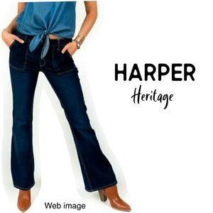 NWOT Harper mid rise flare deep front pocket Jeans